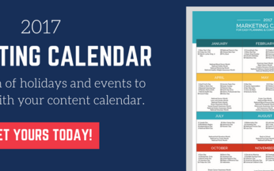 2017 Marketing Calendar for Brainstorming Content